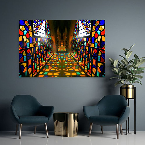 Colorful Stained Glass Window Reflection in Castle Hallway Wall Art Canvas 20x16