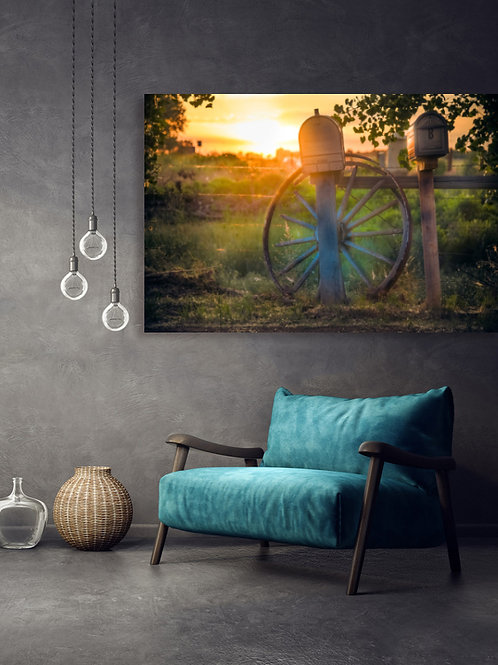 Vintage Wheel,Mail and Fence with Sunrise