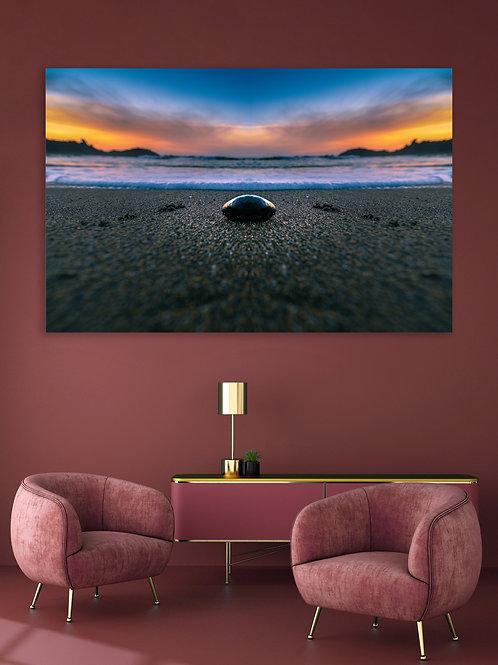 Zen Stone on a beach Sunset colorful Photography - Single Panels Wall Art