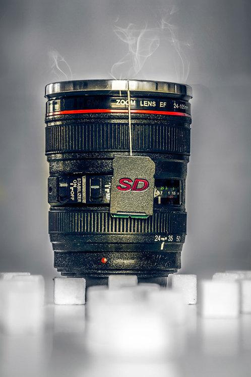 Photographers Break - Lens Mug with SD Card Tea Bag Art Work Canvas16x20