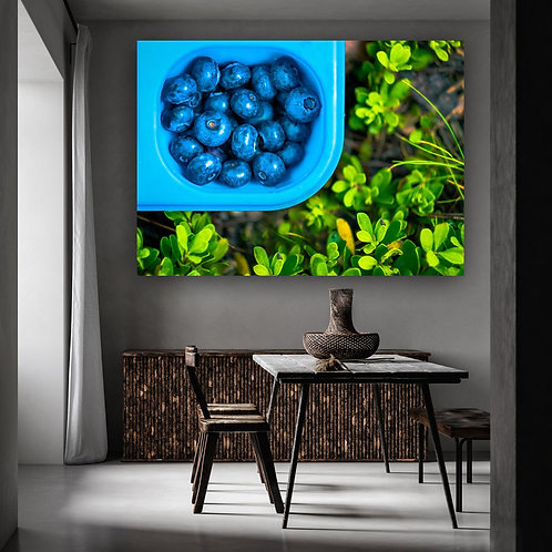Blueberry against green grass Colorful Wall Art Canvas