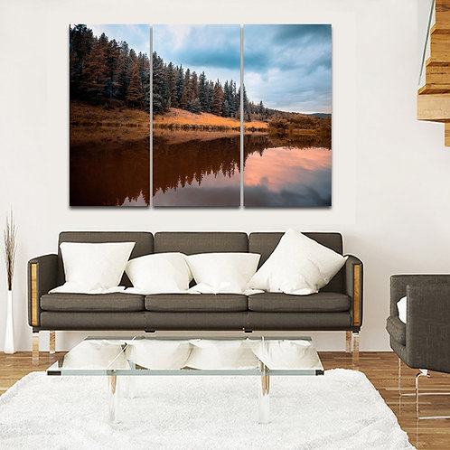 Golden Gate Canyone /High Peak Colors Trees on River Edge With A Mirror Reflecti
