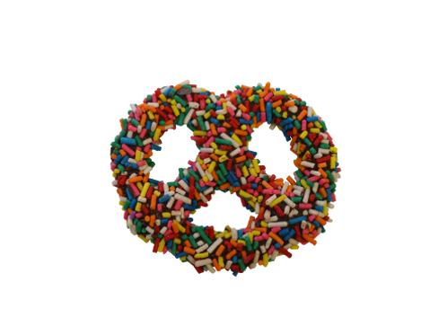 Chocolate Covered Pretzel with Rainbow Sprinkles