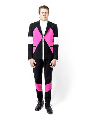 TRAJE SPORTY, NEGRO, ROSA Y BLANCO / Sporty black, pink and white Suit