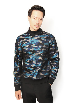 SUÉTER CAMUFLAJE AZUL / Blue Camouflage Sweater