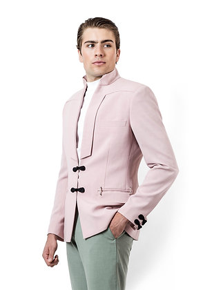 SACO ROSA DE LINO CON TOQUES ASIATICOS / Pink Linen Jacket with Asian Touches