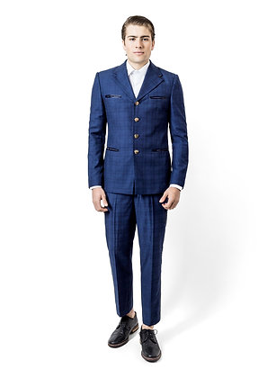 TRAJE AZUL CON CUADROS Y BOLSILLOS / Blue Suit with Checks and Pockets