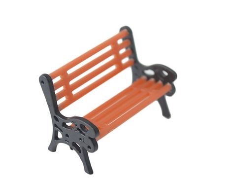 1:76/00 Gauge Scale Model Park Benches - Wood/Black