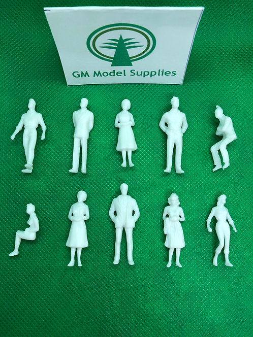 1:50 Scale White Model Figures - 25/50 Figures per Pack