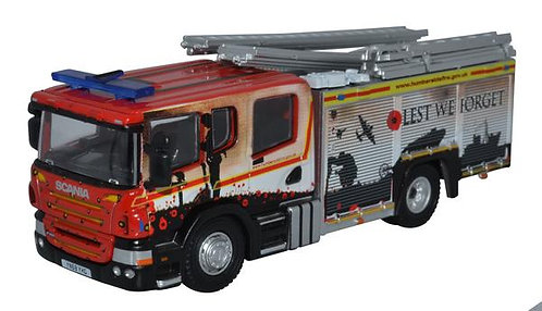 """Oxford Diecast Scania Pump Ladder - Humberside Fire & Rescue """"Lest We Forget'"""