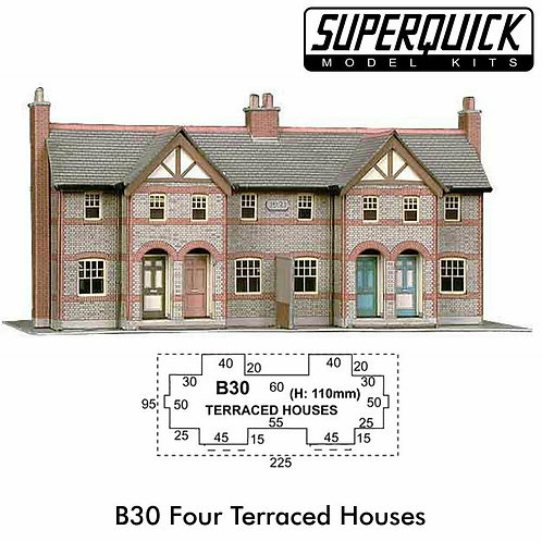 Superquick Model Card Kit - 4 Terraced Houses