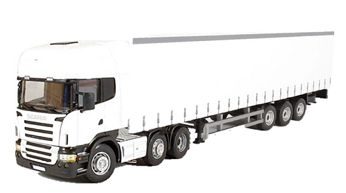 Cararama 1:50 Scale White Trailer & Scania Cab Set