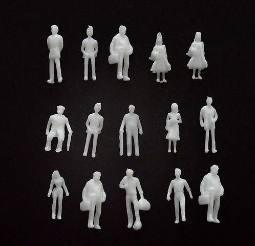 1:100 Scale White Model Figures - 50/100 Figures per Pack