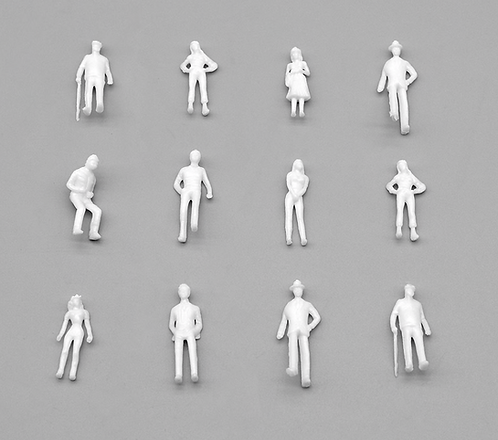 00 Gauge/ 1:76 Scale White Model Figures/People