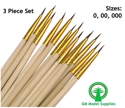 Detailing Brush Set - 0, 00, 000 Gold