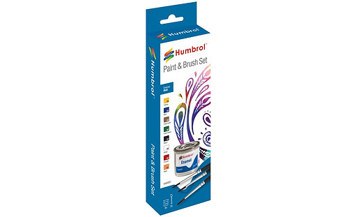 Humbrol Paint & Brush Set - Enamel Metallic