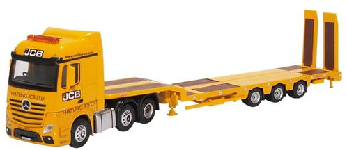 Oxford Diecast Mercedes Actros Semi Low Loader - JCB Livery