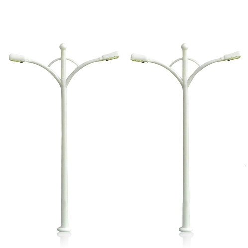 00 HO Gauge Model Lamps/Street Lights - Double Head - Packs of x5/10