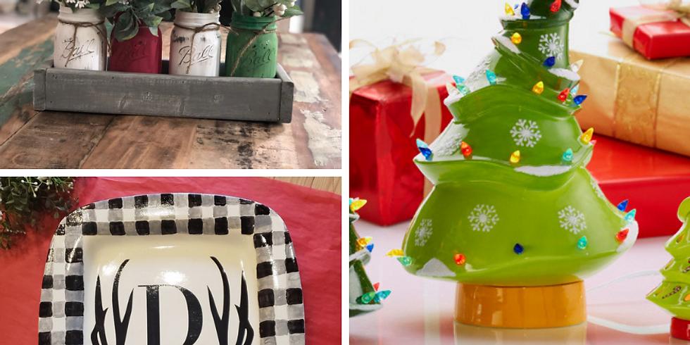 Adult Craft Night! Mason Jar Display/ Ceramic Platter/ Ceramic Trees