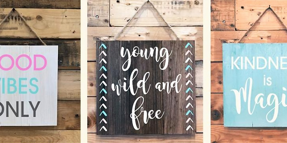 Teen Night! Plank Wood Signs
