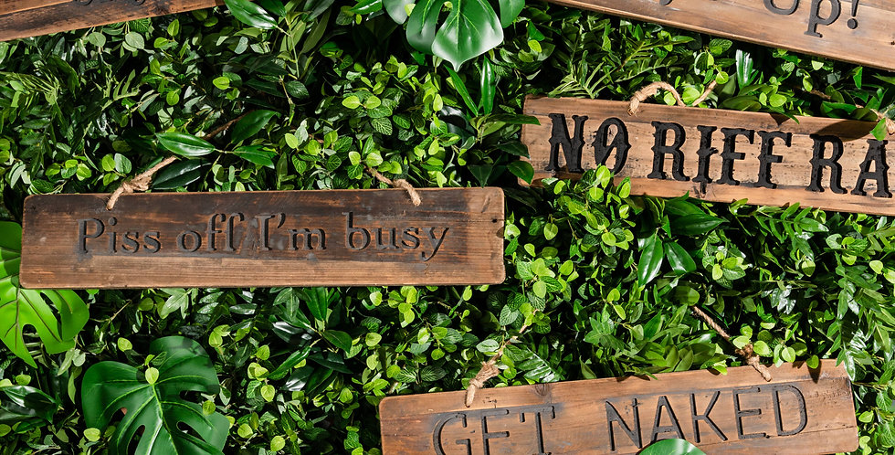 Get Naked Rustic Wooden Message Plaque