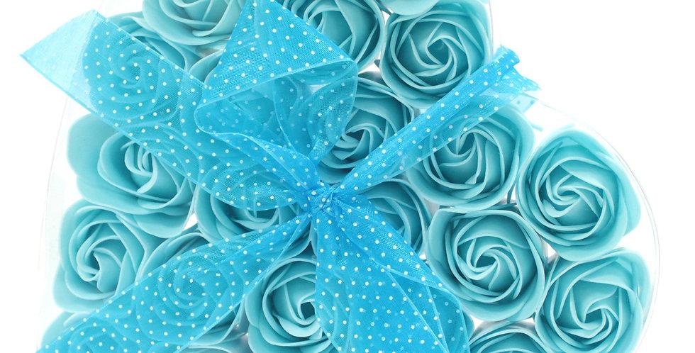 Set of 24 Blue RosesSoap Flower Heart Box