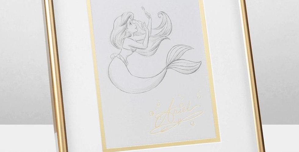 Disney Ariel Framed Pencil Illustration