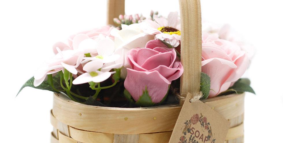 Medium Pink Bouquet in Wicker Basket