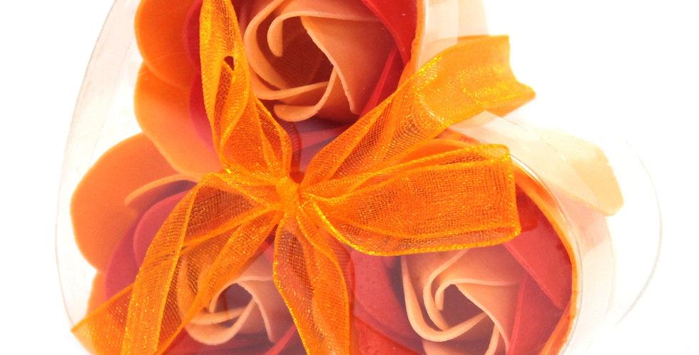 Set of 3 Peach RosesSoap Flower Heart Box