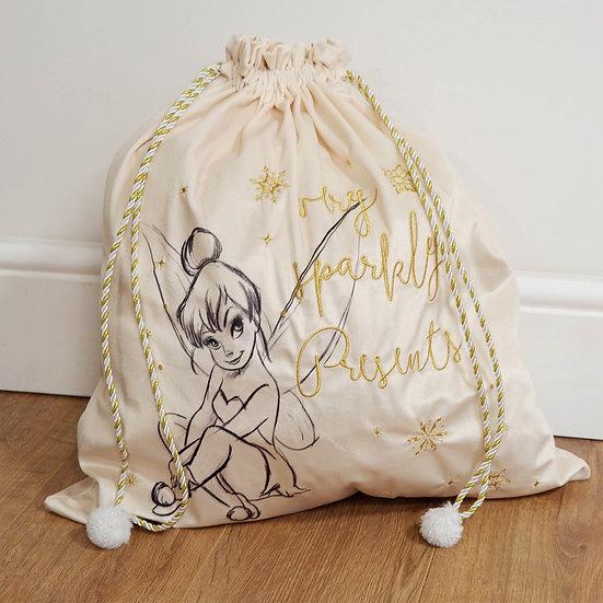 Luxury Disney Tinkerbell Gold and Cream Velveteen Sack