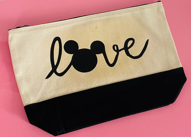 Disney Inspired Mickey Love  Accessory Pouch