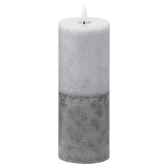 Luxe Collection Natural Glow 3x8 Grey Dipped LED Candle
