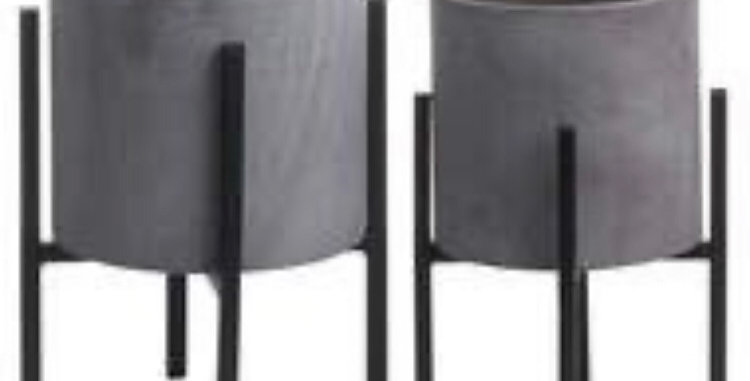 Set Of Two Cylindrical Table Top Planters