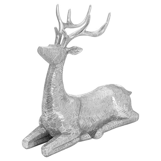 Decorative Wood Effect Sitting Deer
