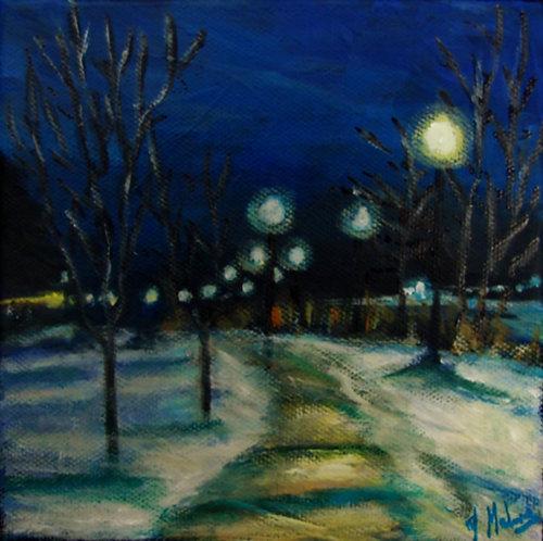 Ile Pozer en hiver par l'artiste peintre Johanne Maheux