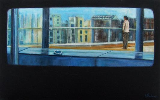 homme urbain et cellulaire par l'artiste peintre Johanne Maheux