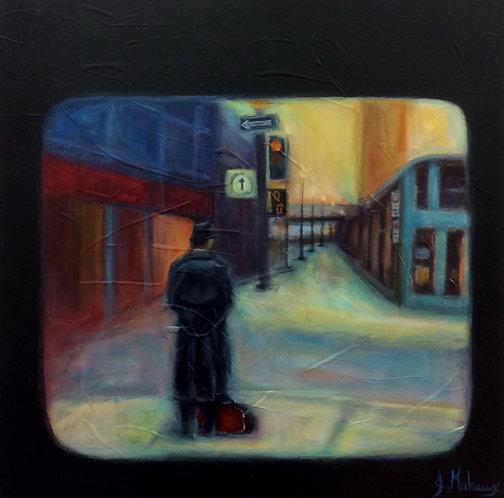 homme urbain par l'artiste peintre Johanne Maheux