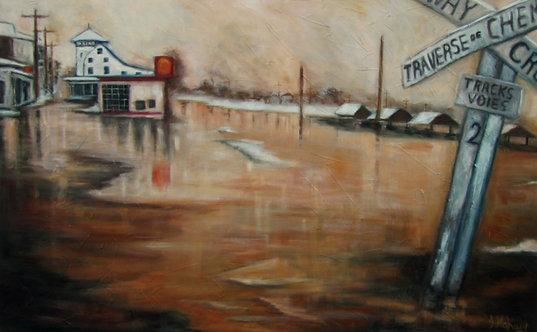 Inondation souvenir St-Joseph par l'artiste peintre Johanne Maheux