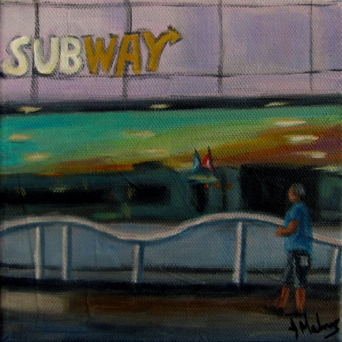 Vitrine du restaurant Subway par l'artiste peintre Johanne Maheux