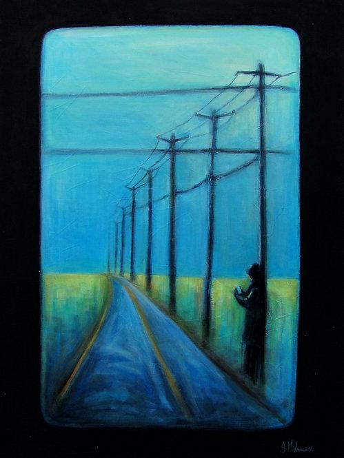 homme sur la route par l'artiste peintre Johanne Maheux