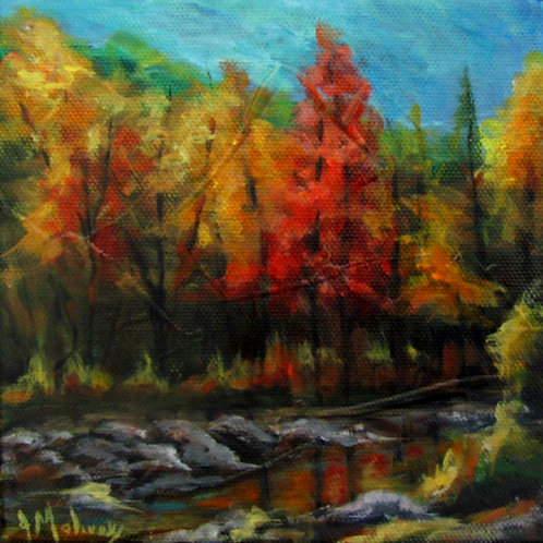 Rivière Pozer en automne par l'artiste peintre Johanne Maheux