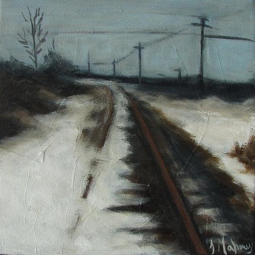 Voie ferrée en hiver par l'artiste peintre Johanne Maheux