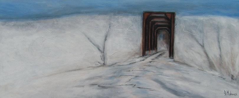 Pont des trains de Vallée-Jonction par l'artiste peintre Johanne Maheux