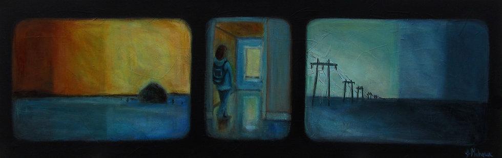 femme et solitude par l'artiste peintre Johanne Maheux