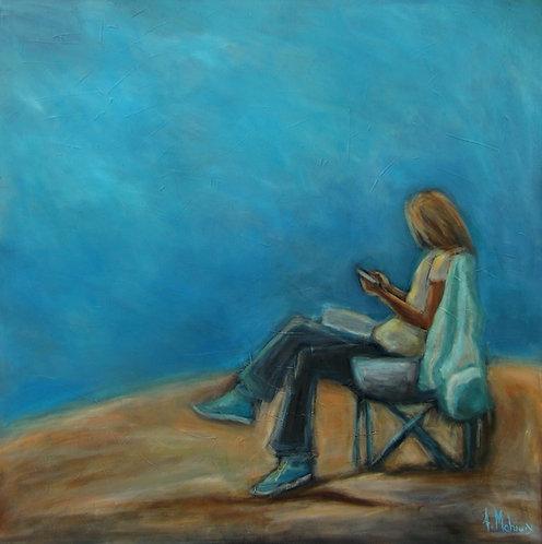 carpe diem-femme avec cellulaire par l'artiste peintre Johanne Maheux