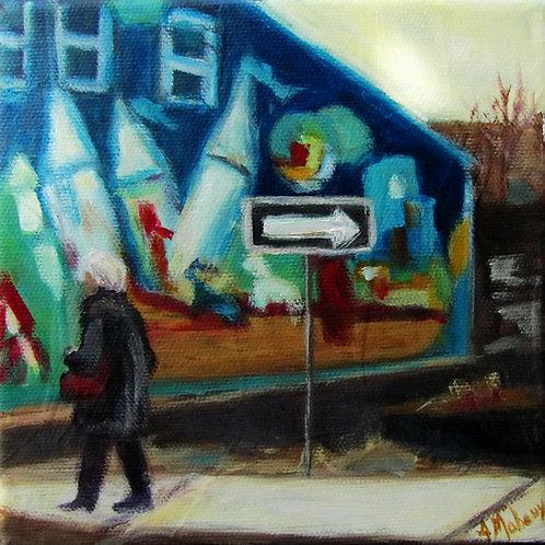 murale sur la1ere avenue de Saint-Georges par l'artiste peintre Johanne Maheux