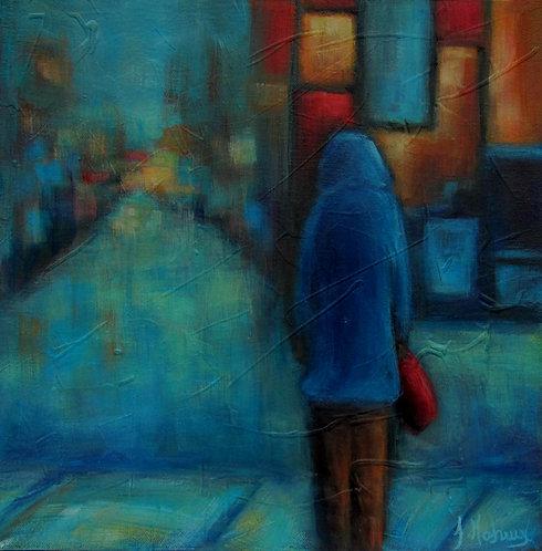 Marcheur de rue par l'artiste peintre Johanne Maheux