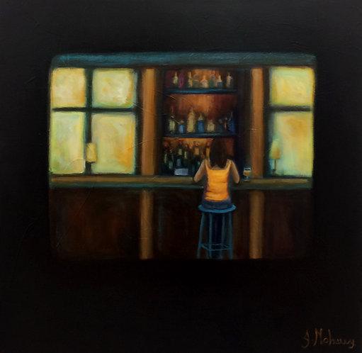 femme dans un bar par l'artiste peintre Johanne Maheux