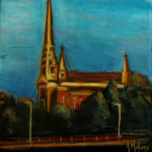 Église Saint-Georges Ouest par l'artiste peintre Johanne Maheux