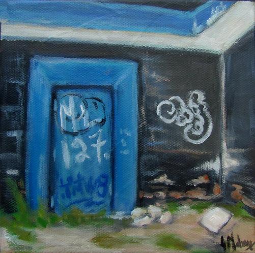 Mur et graffitis par l'artiste peintre Johanne Maheux
